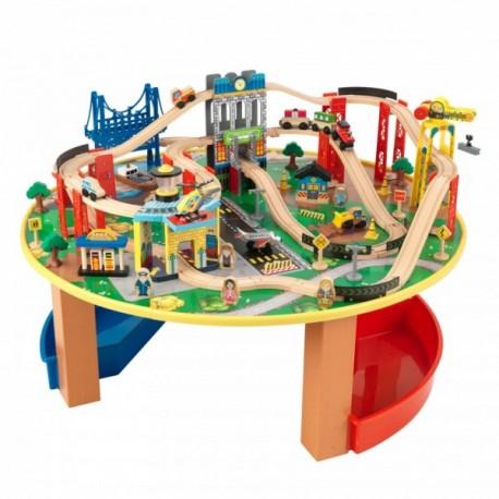 Trenulet din lemn City Explorer si masa de joaca Kidkraft