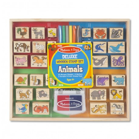 Set stampile din lemn Animale Deluxe