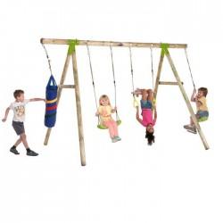 Leagan din lemn pentru 4 copii Capuchin® Plum