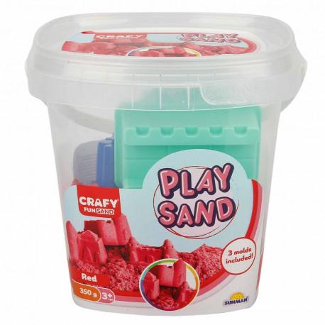 Nisip kinetic Fun Sand 350 gr Rosu si 3 unelte de modelat