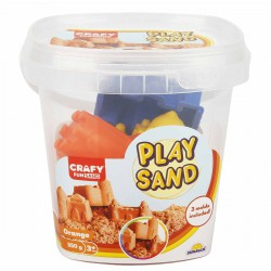 Nisip kinetic Fun Sand 350 gr Orange si 3 unelte de modelat