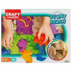 Nisip kinetic Fun Sand 1000 gr cu tavita si sabloane La Plaja