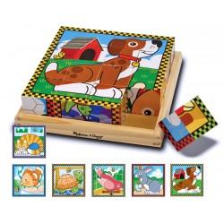 Puzzle lemn din cuburi Animalele de casa Melissa and Doug