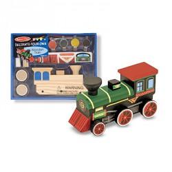 Trenulet din lemn de asamblat si pictat Melissa and Doug