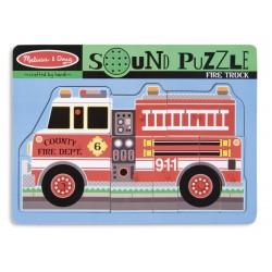 Puzzle de lemn cu sunete Masina de Pompieri Melissa and Doug