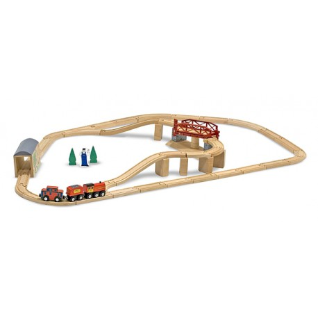 Melissa and Doug - Set Trenulet din lemn cu pod pivotant