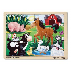 Puzzle din lemn Ferma Melissa and Doug 12 piese