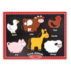 Primul meul puzzle din lemn Animale de la ferma Melissa and Doug