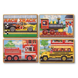 Set 4 puzzle lemn in cutie Vehicule Melissa and Doug