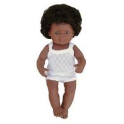 Baby afroamerican fata Miniland 38 cm