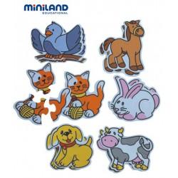 Puzzle tematic cu animale Miniland 3-5 piese