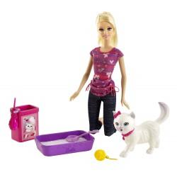 Barbie Invata pisica la litiera